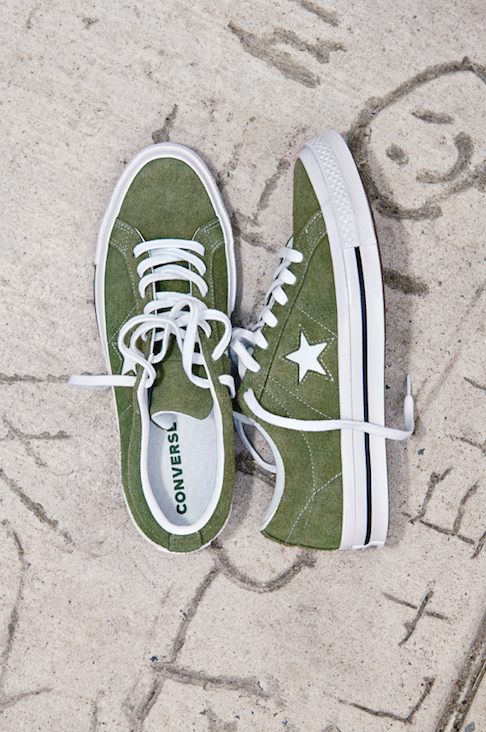6d8827fae3296f CONVERSE ONE STAR VINTAGE SUEDE LOW TOP - GREEN