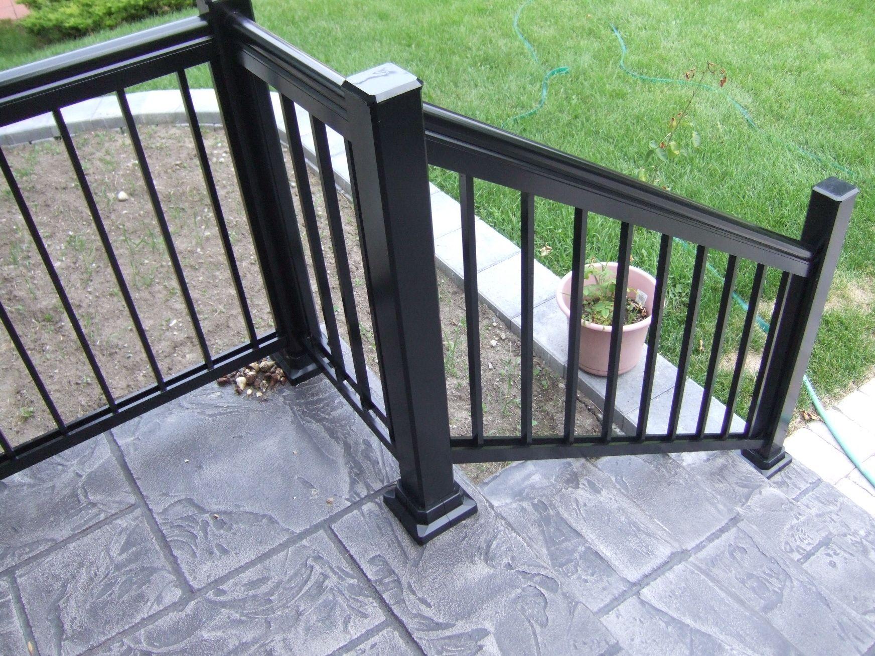 Designer Concrete Black Aluminum Railing Patio Railing Handrails For Concrete Steps Concrete Patio