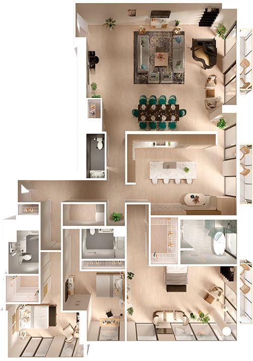 Penthouse 3d Grundriss Draufsicht 3d Grundrisse Bodenplane 3d 3dbodenplan Colorful Nb Eigenheim Grundriss Moderne Home Plane Moderne Hausgrundrisse