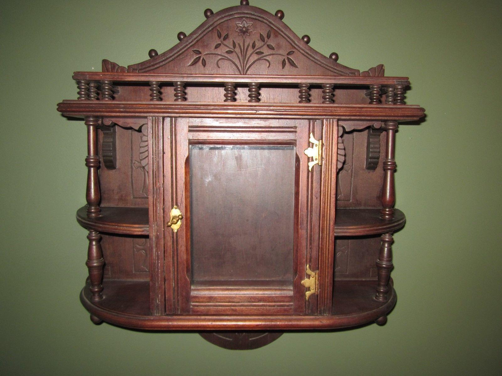 Antique Eastlake Victorian Wall Cabinet Ornate Wood In Antigüedades Muebles Antiguos Gabinetes Y Alacenas