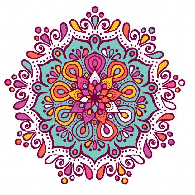 Mandala colorido con formas florales Vector Gratis Dibujo