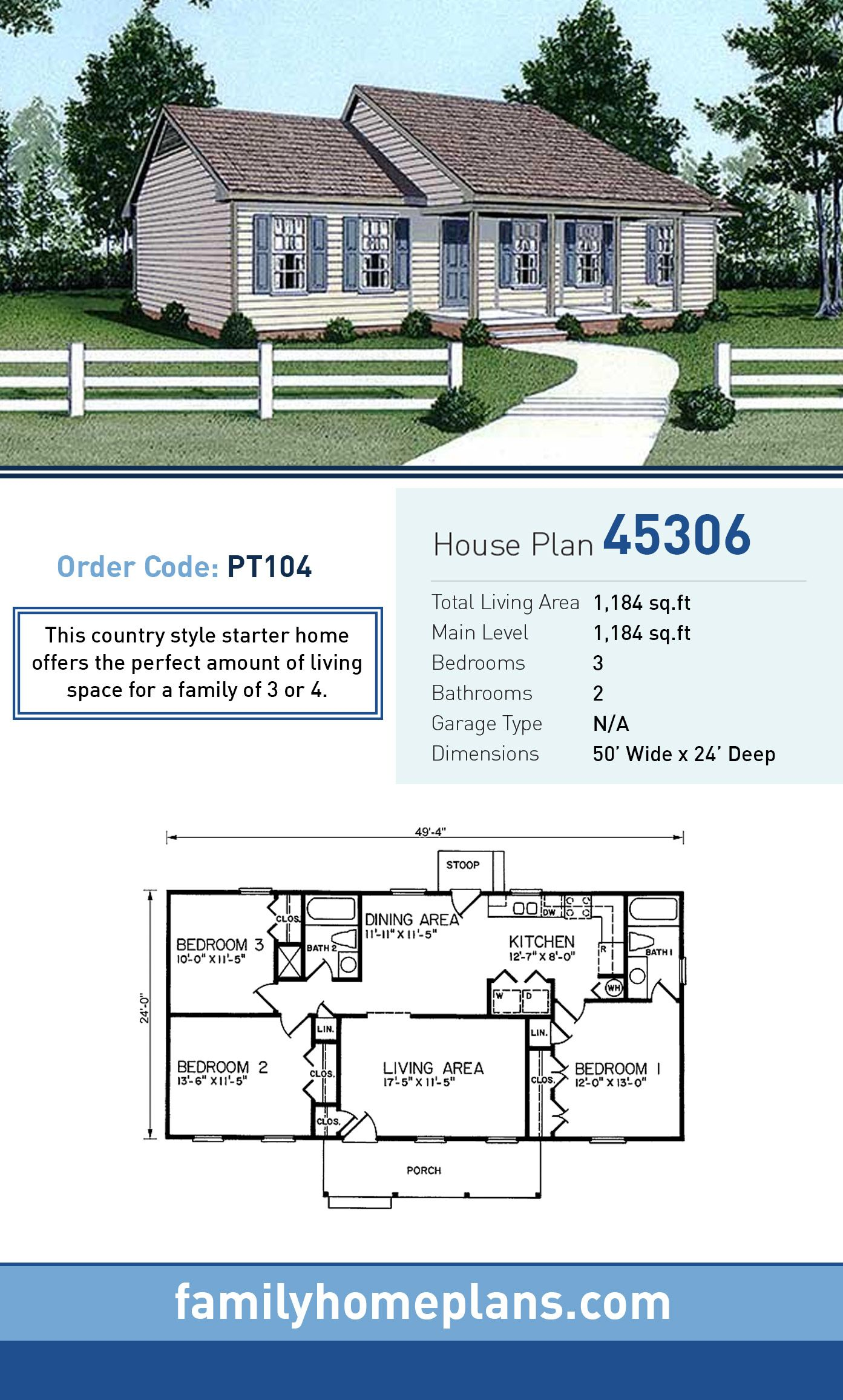 Ranch Style House Plan 45306 With 3 Bed 2 Bath Starter Home Plans Vacation House Plans Ranch Style House Plans