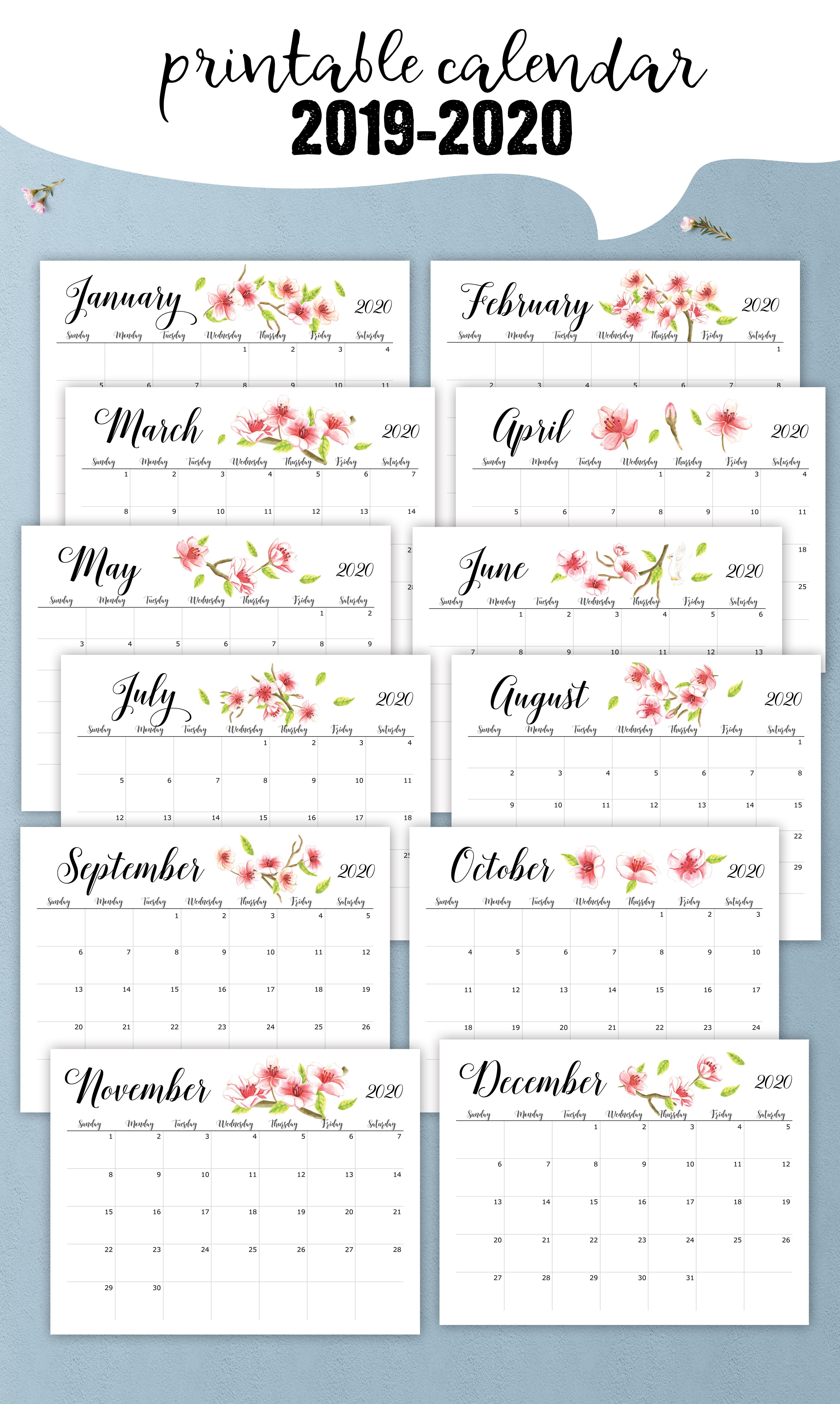 Printable 2019 2020 School Year Calendar Floral Desk Calendar For