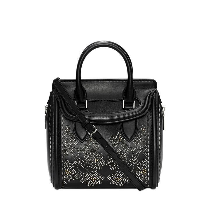Alexander McQueen  Calf Leather Floral Studded Small Heroine