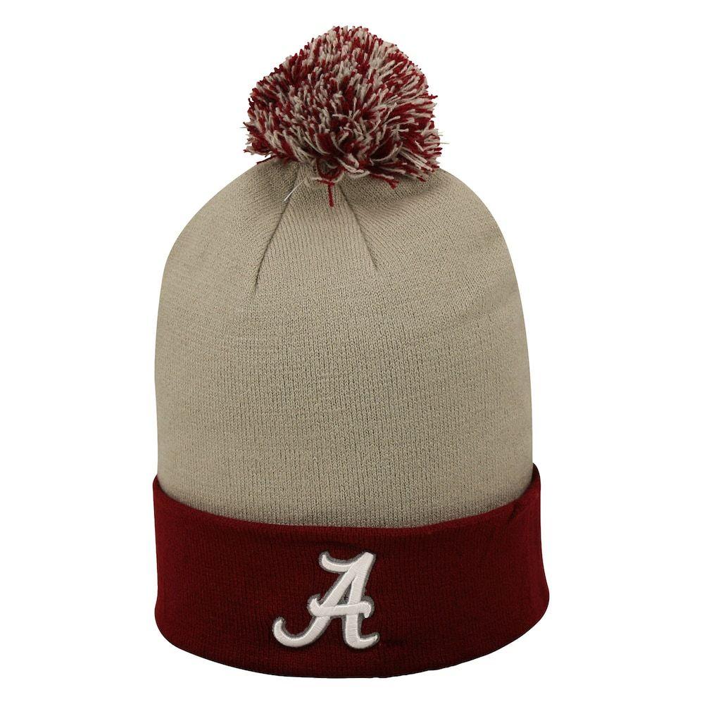 52ce414a250d45 Adult Top of the Wold Alabama Crimson Tide Knit Pom Pom Hat, Med Grey