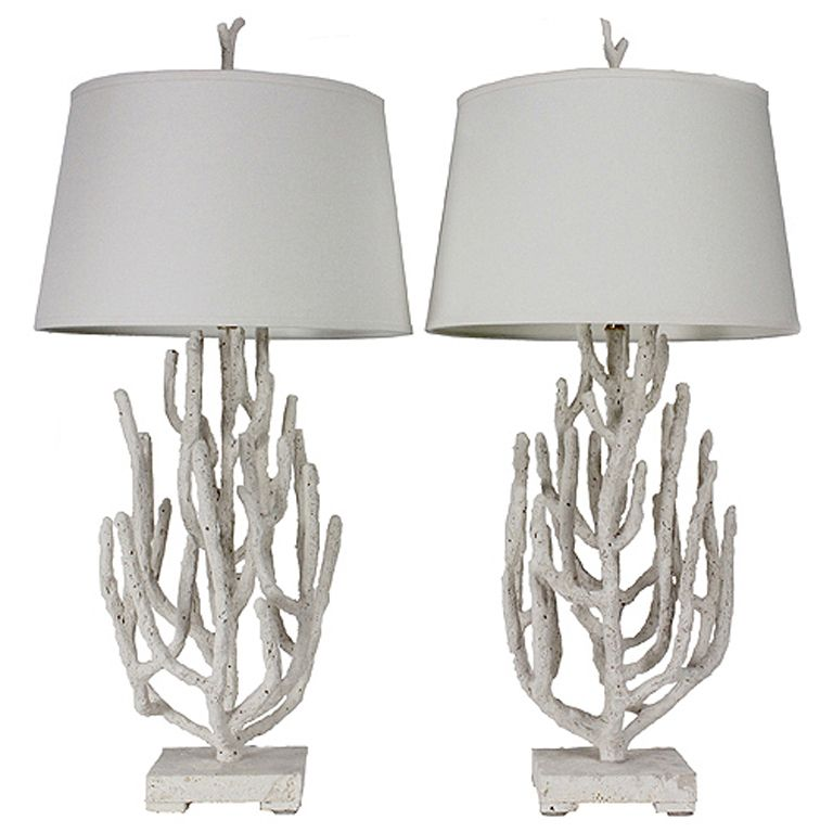 Charming Pair Of Faux Coral Table Lamps On Coquina Stone Bases