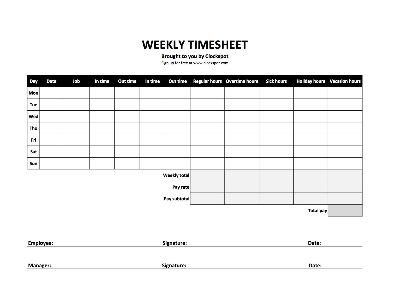 The Surprising Free Timesheet Templates In Excel Template