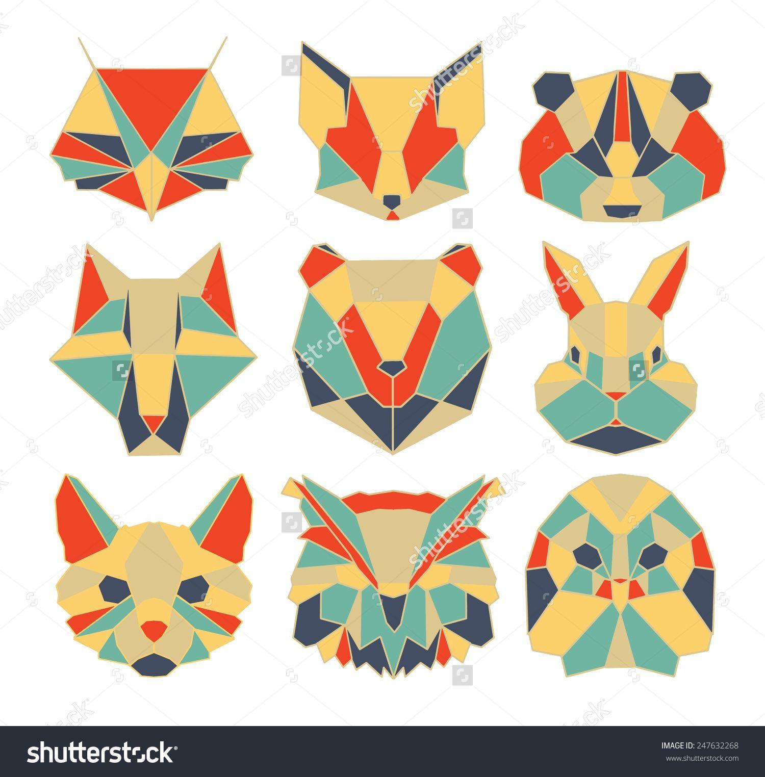 Stock Vector Polygonal Animal Wildlife Bird Bear Raccoon Owl