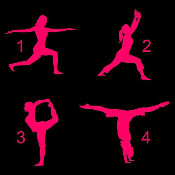 Yoga Fitness vinyl decal. Great for car or truck windows, laptops, lockers, mirrors, and more! Can be applied on any SMOOTH surface. Vinyl colors come in Blue, Pink, or White. #yoga #fitness #healthy #etsy