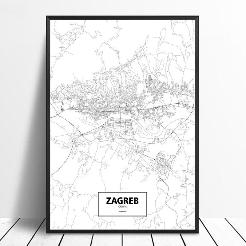 Zagreb Croatia Black White Custom World City Map Poster Canvas Print Nordic Style Wall Art Home Decor In 2020 Map Wall Art Canvas Art Wall Decor City Map Poster