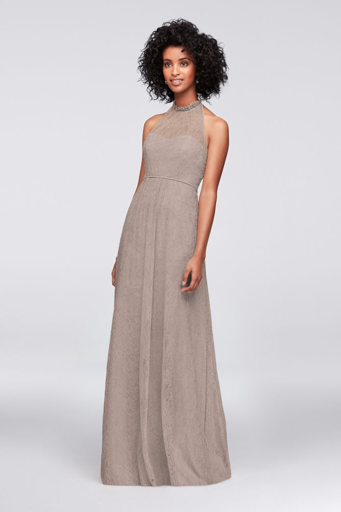 Allover Chantilly Lace A-Line Bridesmaid Dress - Biscotti, 0 ...