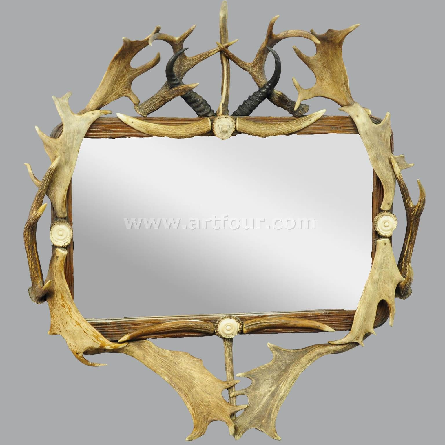 antique antler frame with rustic antler decorations and mirror ...