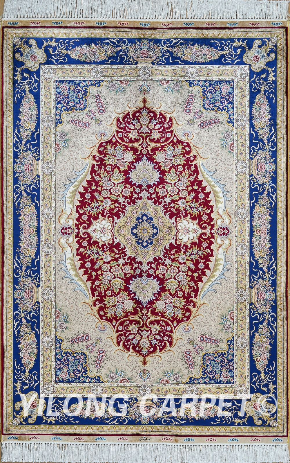 Red and Blue Tabriz Persian Rugs Antique Turkish Silk Carpets Rugs Materials: Silk Technology:
