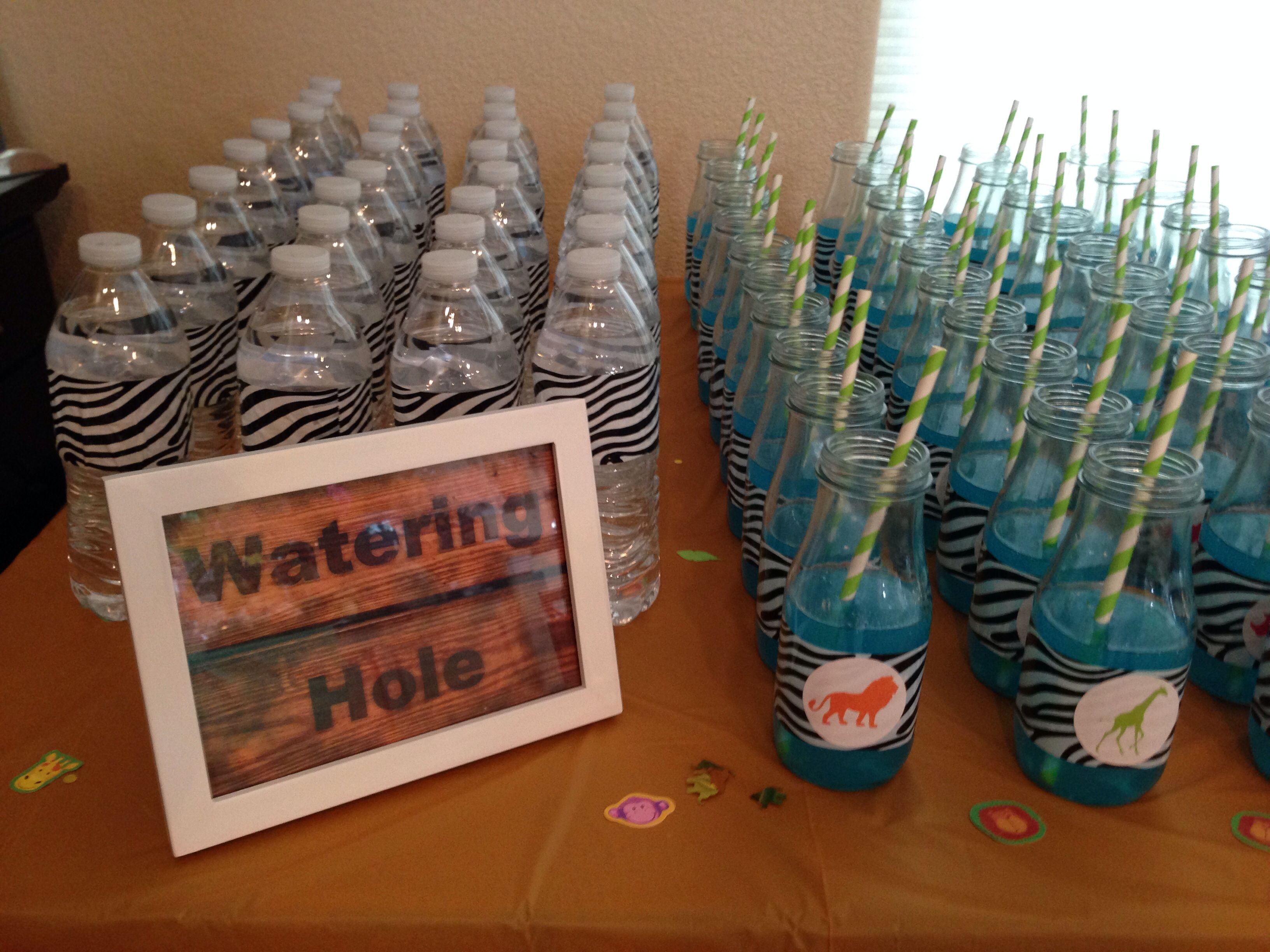 Safari themed baby shower Blue nonalcoholic drinks 1large jug of