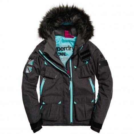 Superdry Ultimate Snow Service winterjas dames black grit De