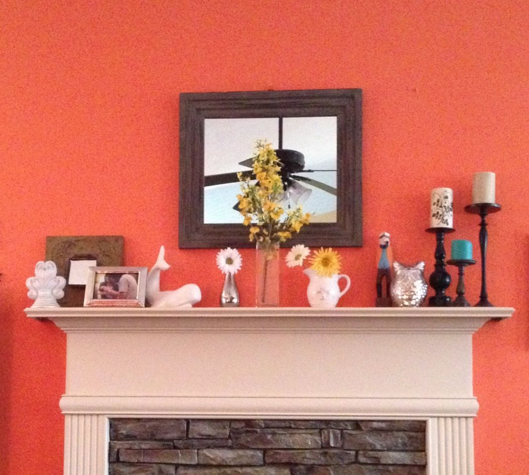 My own Spring and Summer Mantel! Wet Coral paint by Behr. Yellow ...