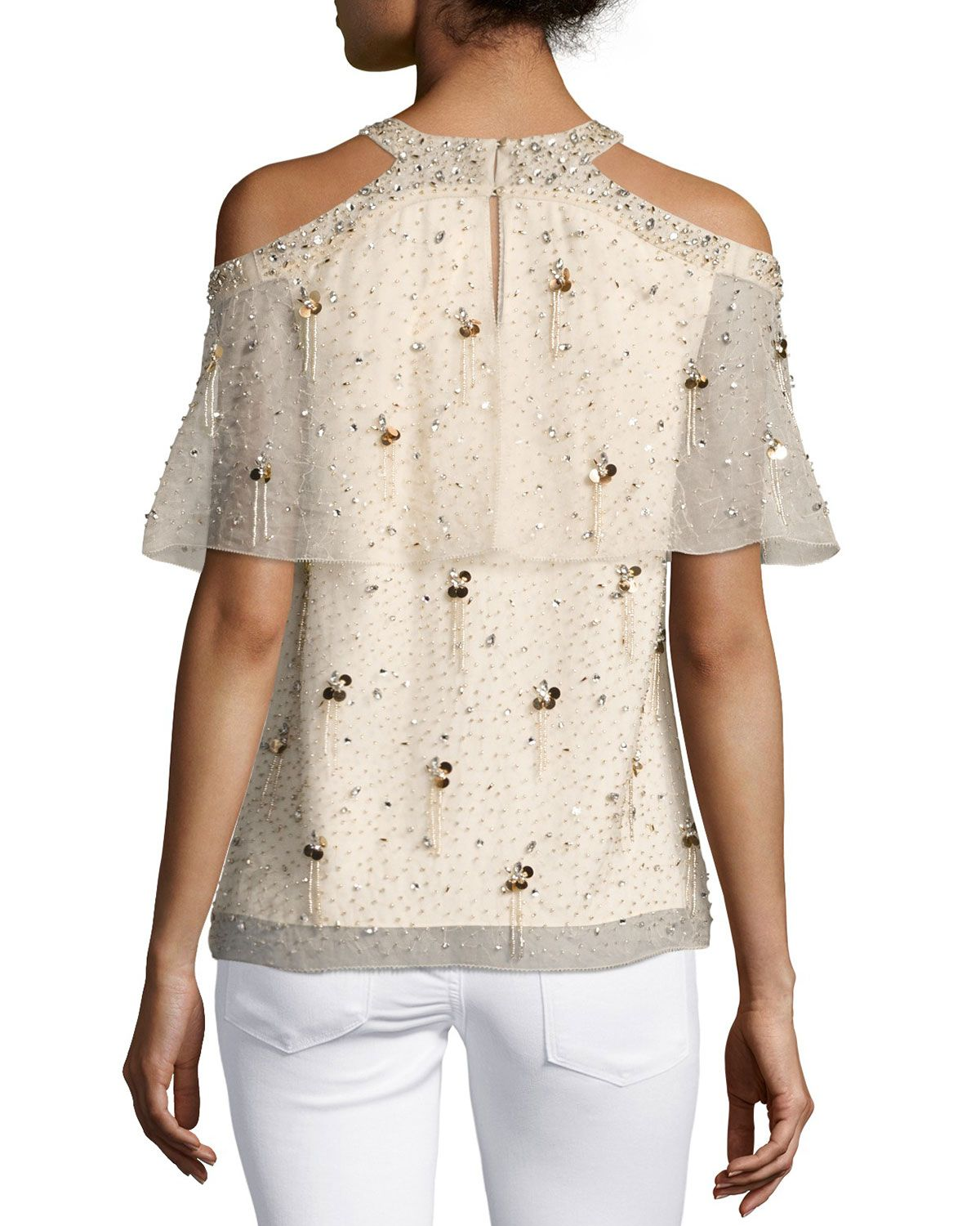 a6cf26901108 Elie Tahari Genevieve Embellished Silk Popover Blouse | Products ...