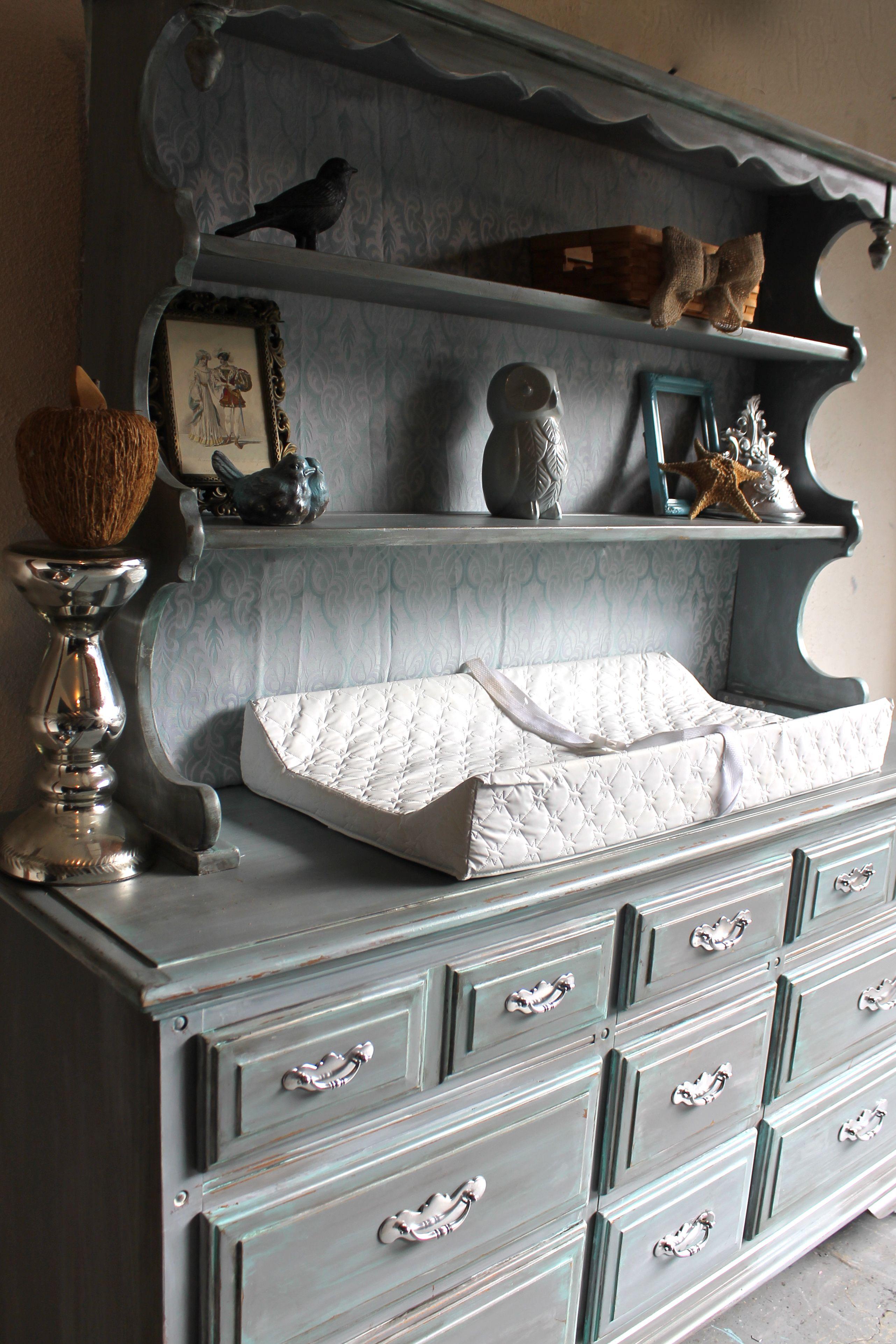 Weathered U0026 Distressed Gray U0026 Teal Vintage Dresser/hutch Baby Nursery Changing  Table
