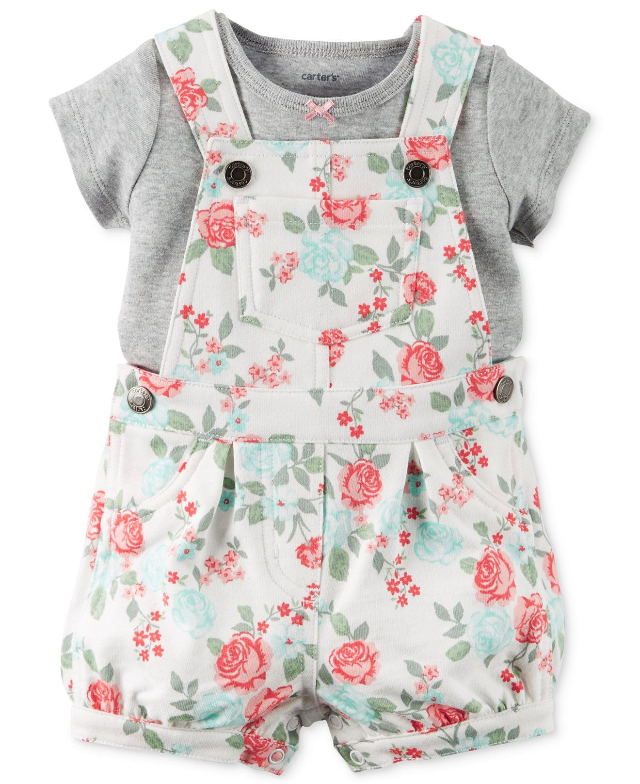 Carter s Baby Girls 2 Piece Gray T Shirt & Rose Print Shortall Set