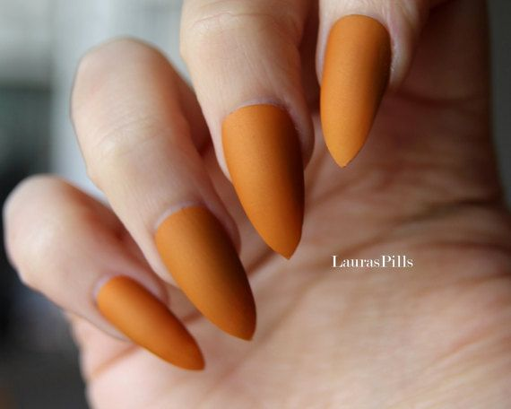 Caramel Stiletto False Nails Matte Or Glossy Caramel Mustard Yellow