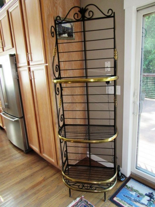 Item 1 Vintage Bakers Rack Wrought Iron And Brass 27 X 17