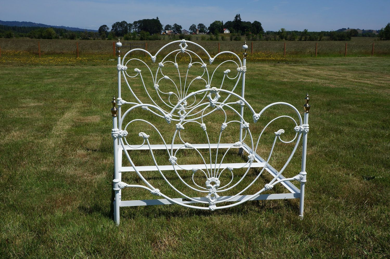 Omg Shabby cottage chic white wrought iron j/b ross queen bed frame