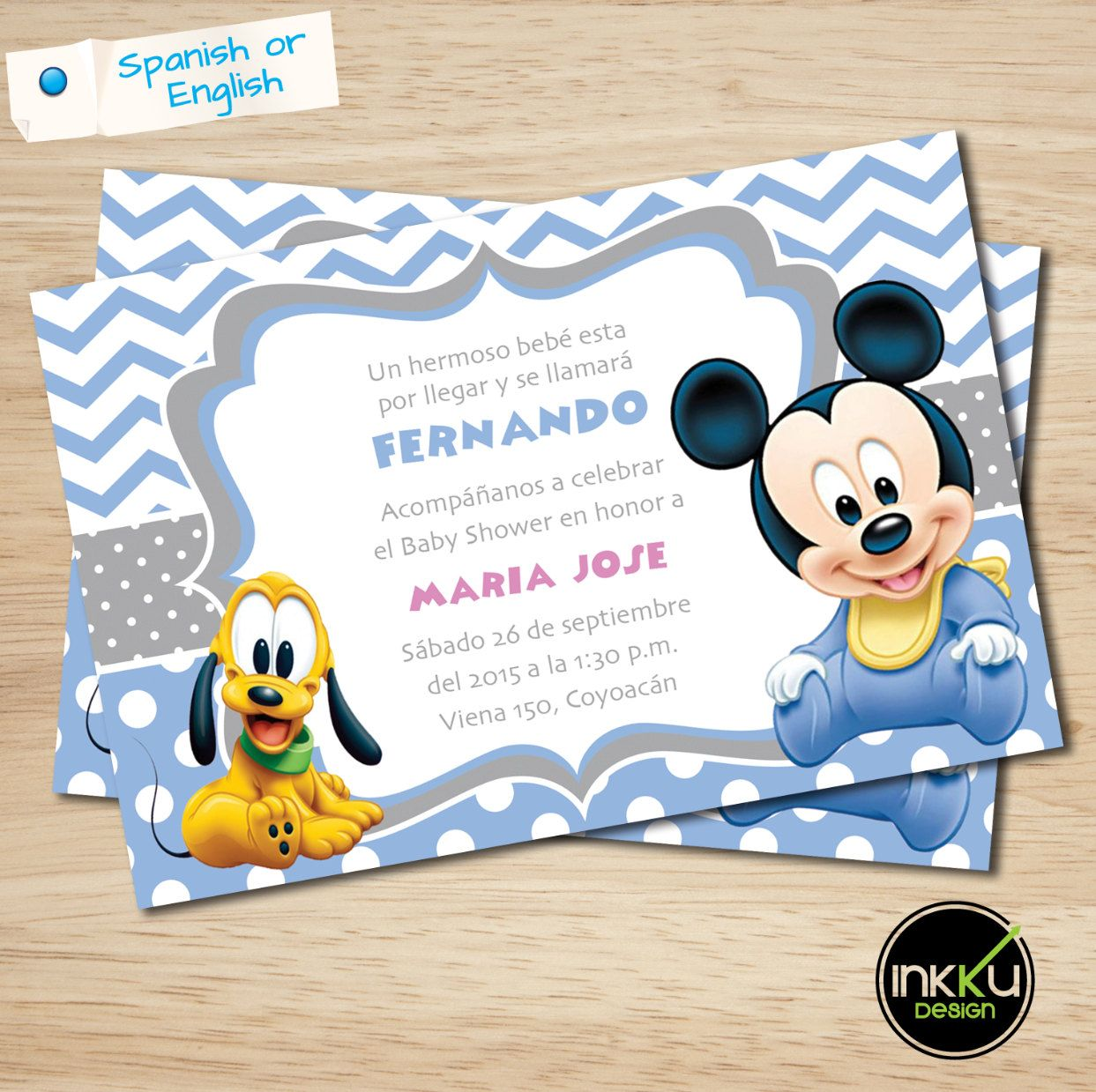 Mickey Mouse Baby shower Invite, Mickey Mouse Baby shower ...