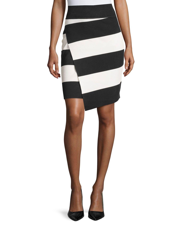 Catherine Catherine Malandrino Striped Asymmetric Pencil Skirt, Black/White, Women's, Size: S, Black/Wht