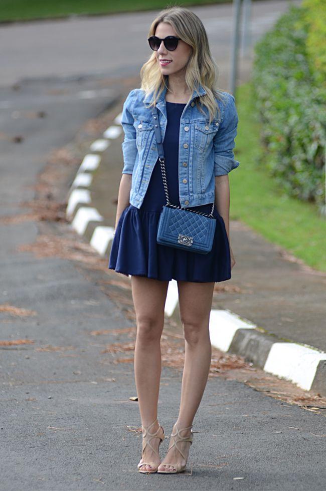 Look Camisa Jeans + Vestido Preto | Looks vestidos, Looks