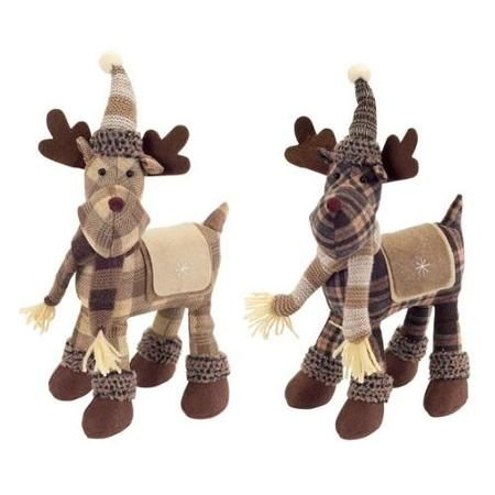 Set of 2 Country Cabin Plush Brown and Tan Plaid Standing Moose - moose christmas decorations
