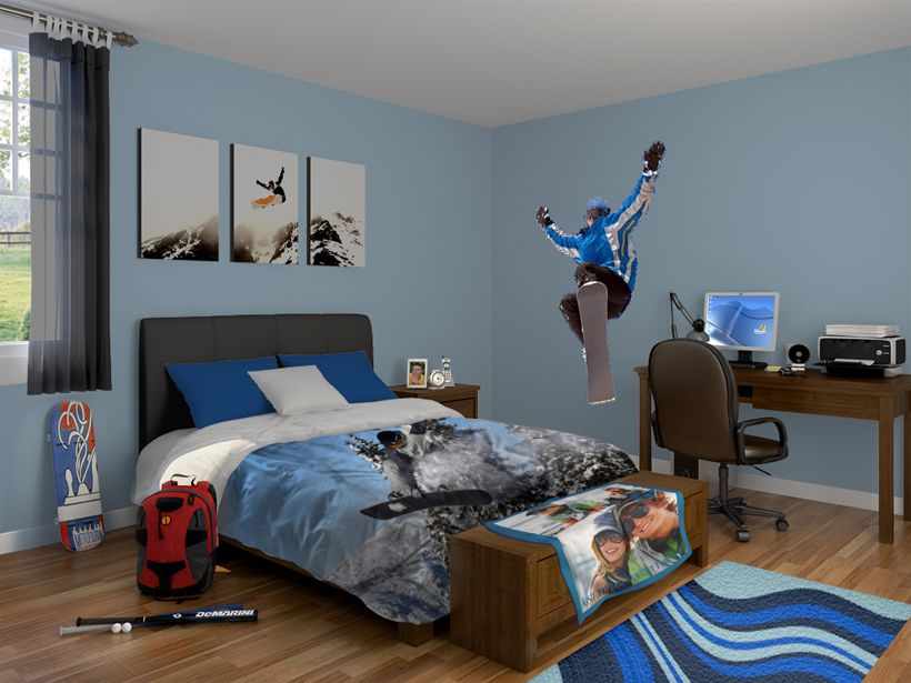 Cool Snowboard Themed Bedroom Decorating Love The Print Over The