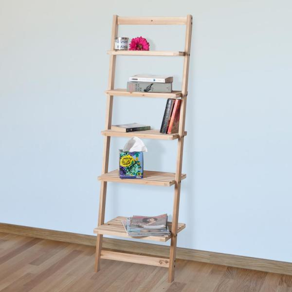 Lavish Home 5 Tier Natural Wooden Leaning Ladder Storage Shelf