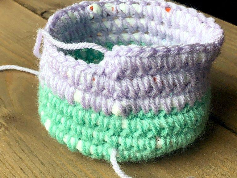Recycled Scrap Yarn and Plarn Crochet Basket –