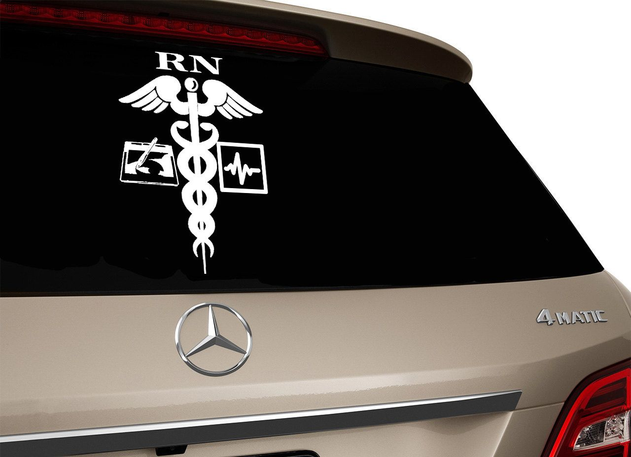 RN Car Decal Nurse Vinyl Car Decal Medical Symbol Window - Vinyl car decals for windows