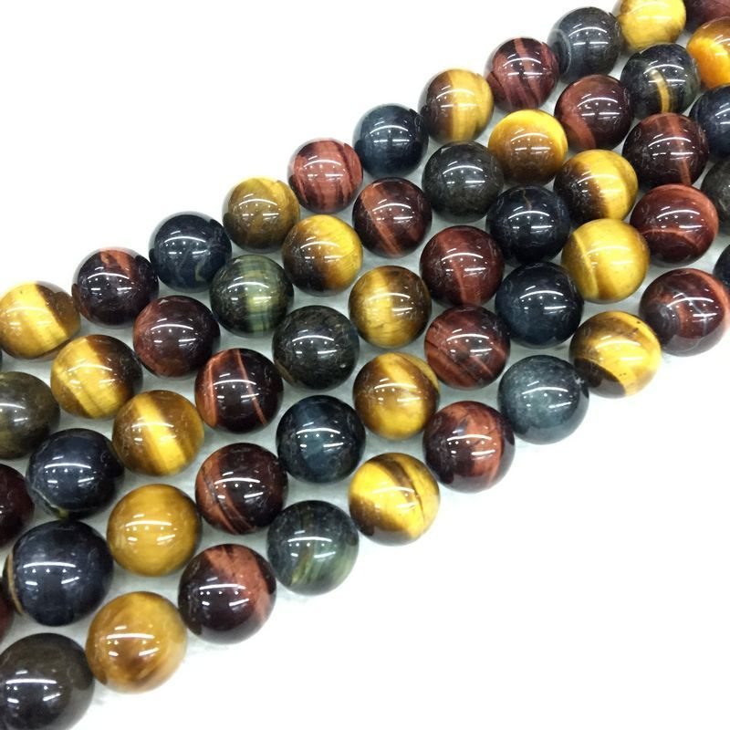 BEADZTALK Natural Colorful Tiger Eye Stone Bead Spacer  6mm 8 mm 10 mm 12 mm Round Bead DIY Making Earrings Neckalce