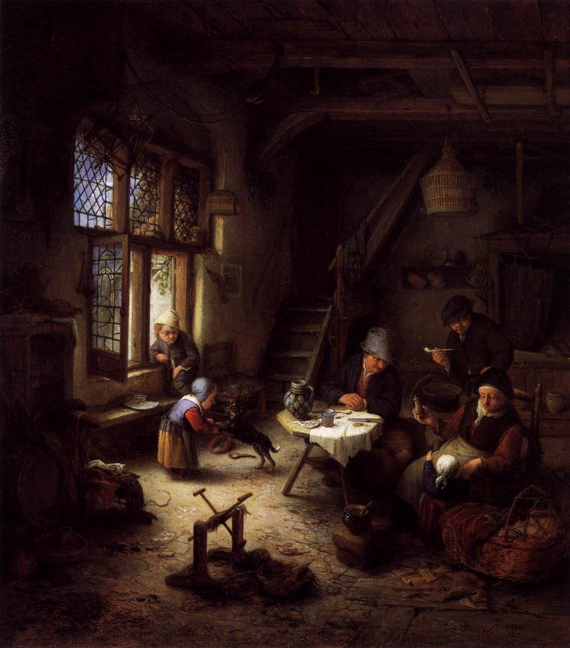 adriaen ostade boerenfamilie in de huiskamer
