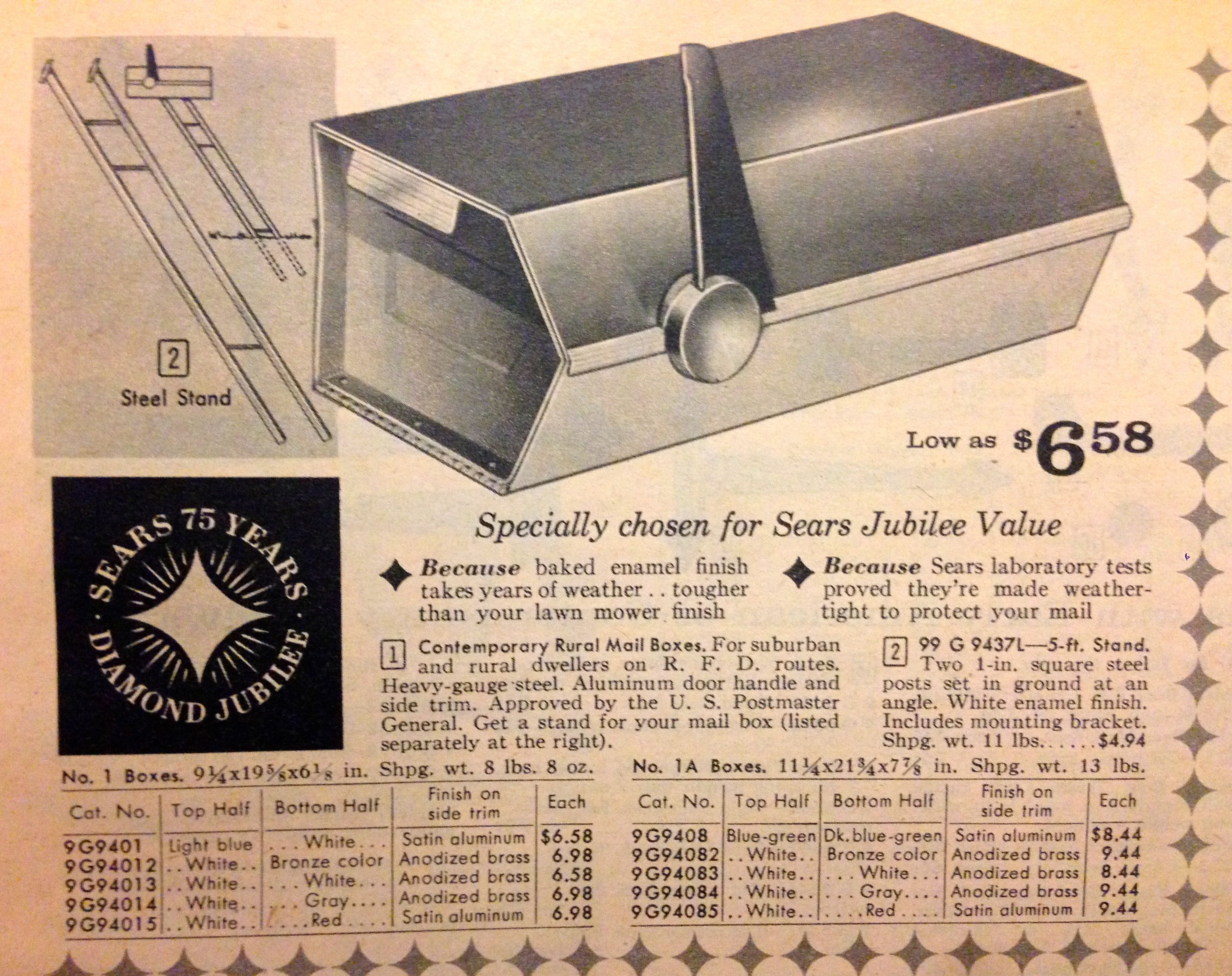 Mid Century Modern Mailbox Sears 75 Years Diamond Jubilee Catalog From 1961 Now That S Mid Ce Modern Mailbox Mid Century Modern Mailbox Mid Century Mailbox