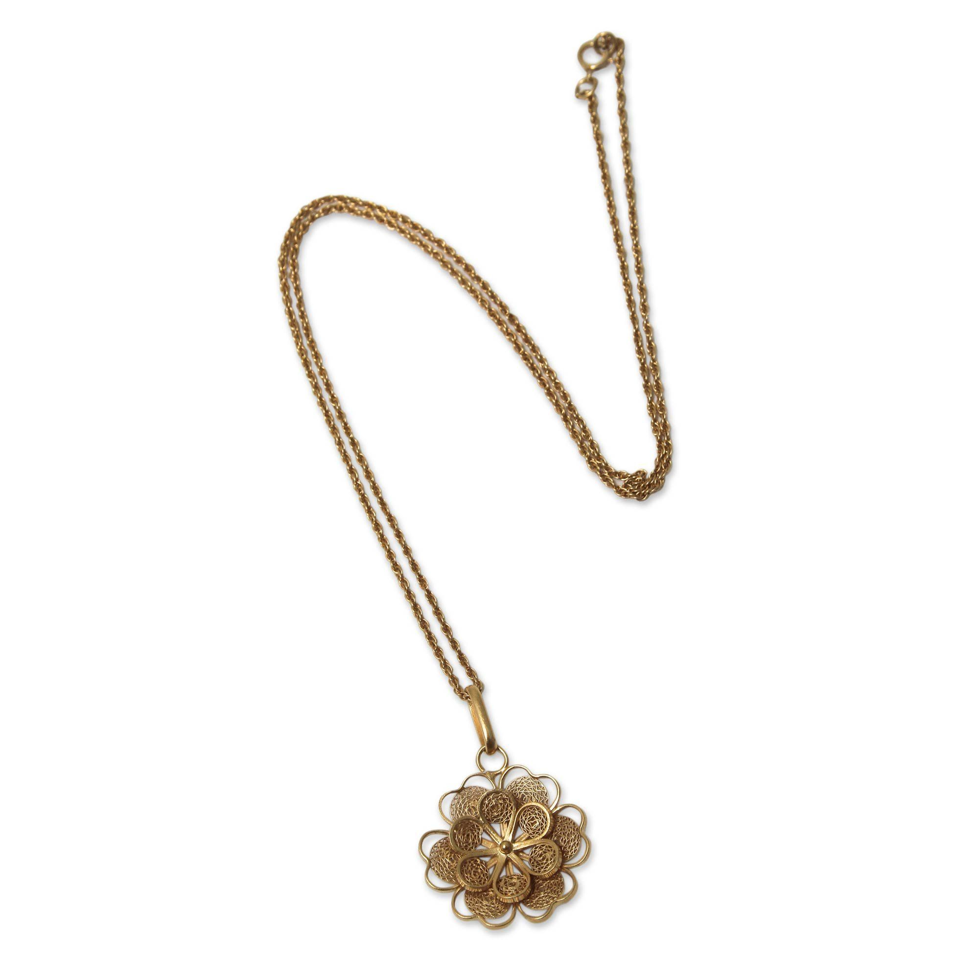 NOVICA k Yellow Gold Plated Sterling Silver Pendant Necklace