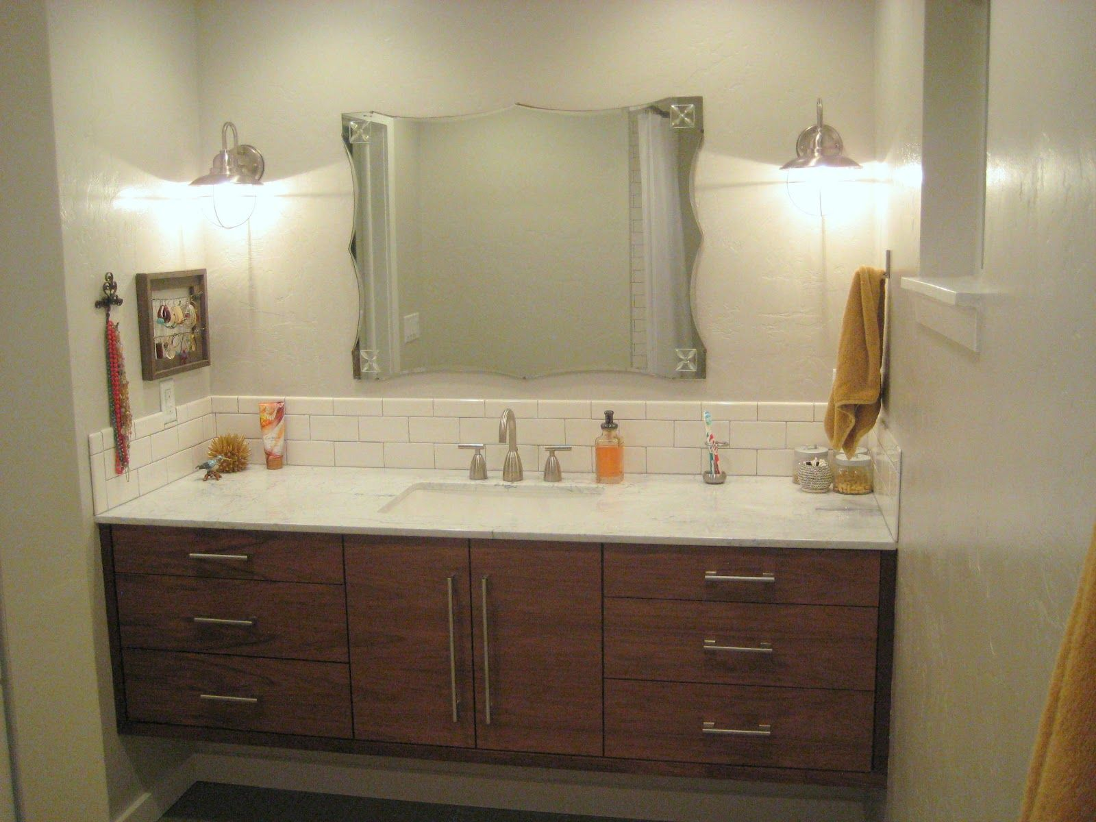 Narrow Bathroom Vanity With Charming Narrow Bathroom Vanities With Single Sink And Unique Beveled Mirror Shape Design