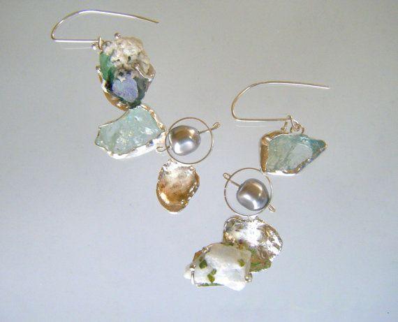Asymmetrical Eco Friendly  Dangle Earrings by laurastamperdesigns, $178.00
