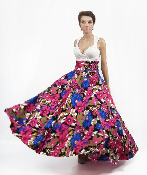 Maxi Skirt , Long Skirt, Floor length skirt, Floral skirt, Full ...
