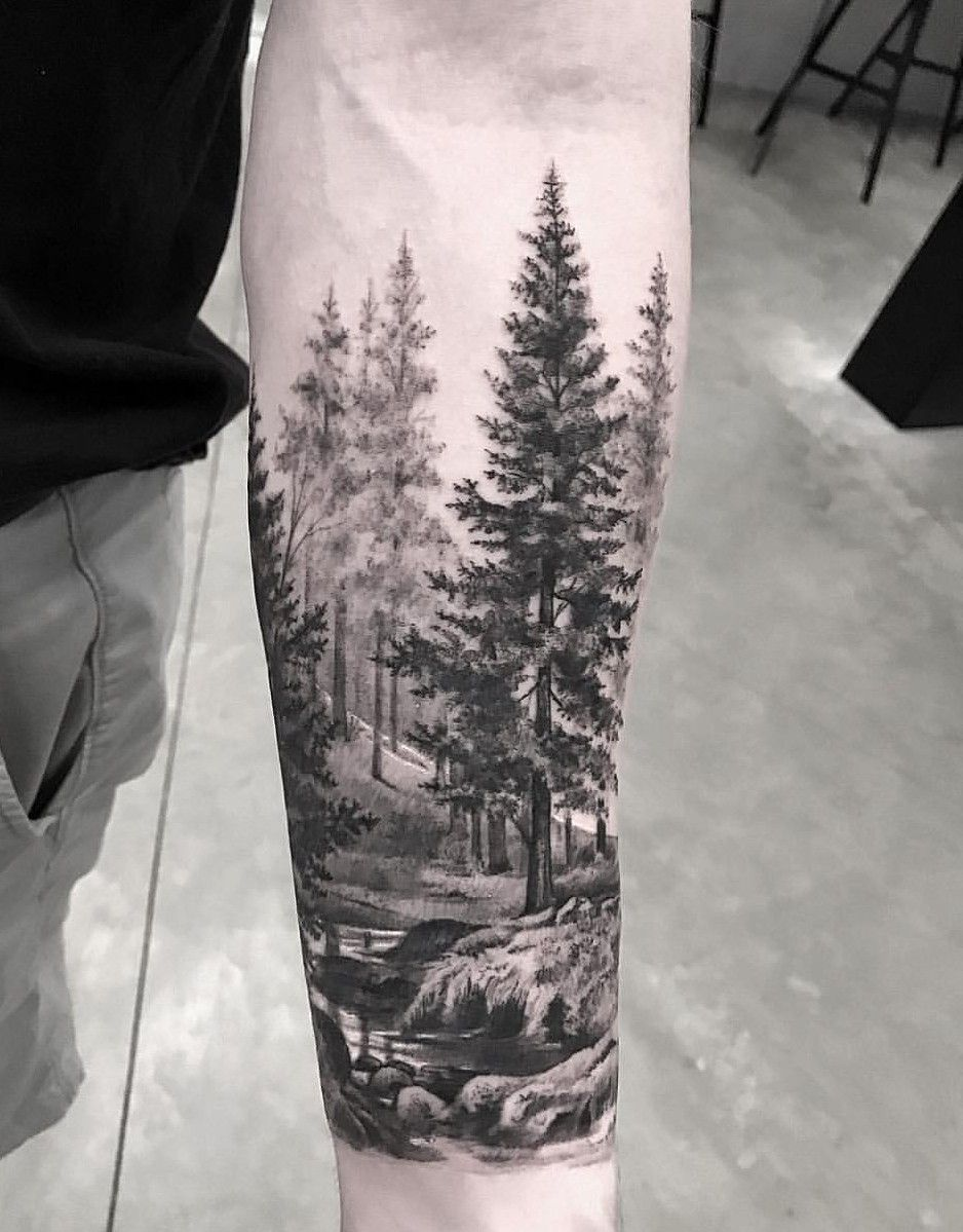 awesome forest scenery for sleeve tattoo tattoo. Black Bedroom Furniture Sets. Home Design Ideas