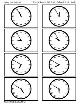 Printable Clock Flash Cards Hours Half Hours 5 10 15 20 25 30