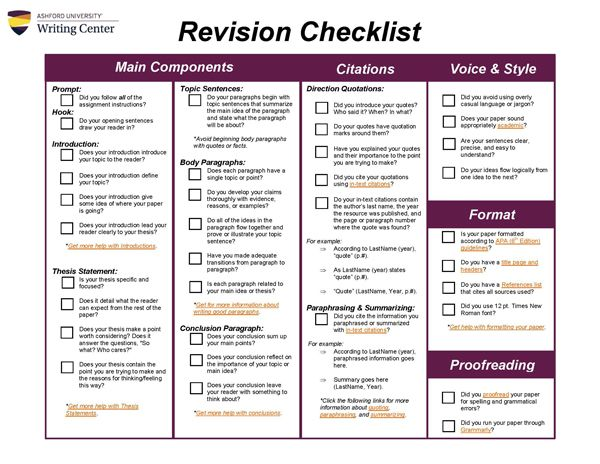 Revision Checklist ~ use this checklist when revising a critical - critical analysis