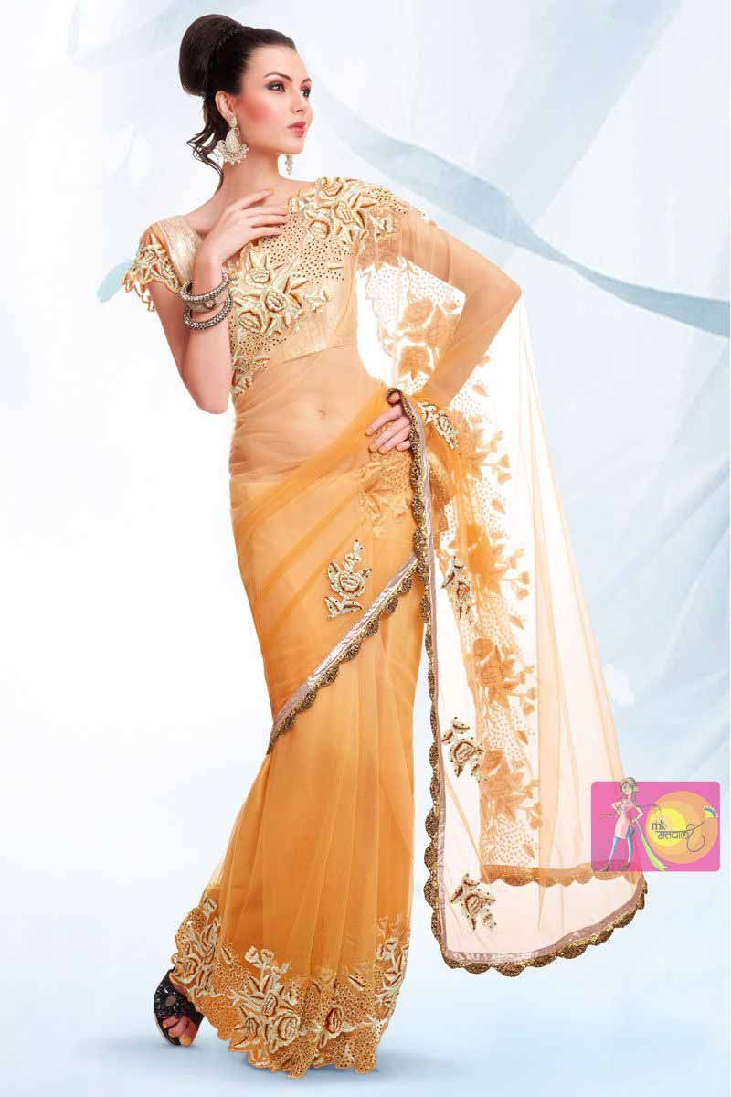 e5a0ef4c1a Light Orange Net Party Wear Saree with Fancy Embroidery Work Lace Border