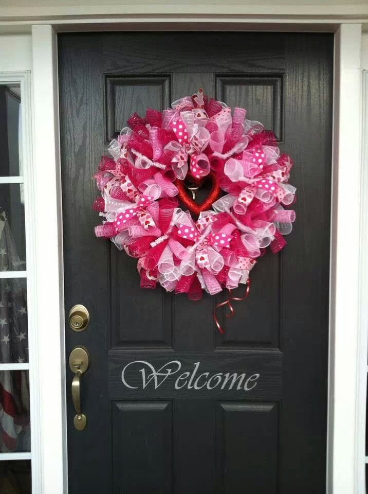 Valentine S Day Pink Wreath Love Front Door