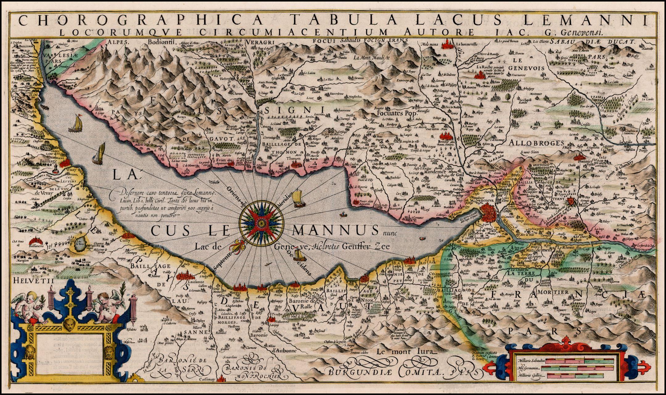Hondiusu0027 map of the Lake Geneva area