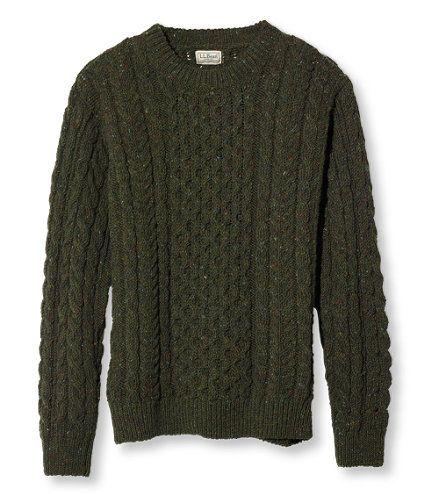 Men's Heritage Sweater, Irish Fisherman's Crewneck at L.L.Bean. Loden Green, size XXL.
