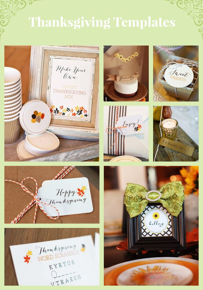 Our printable Thanksgiving invitations place cards menu