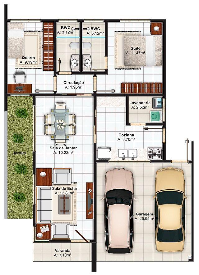 Plano de casa de 103 m2 ideas em 2019 plantas de casas for Casa moderna 140 m2